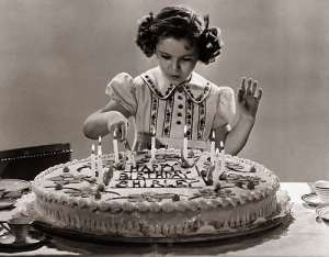 Shirley Temple on her ninth birthday
